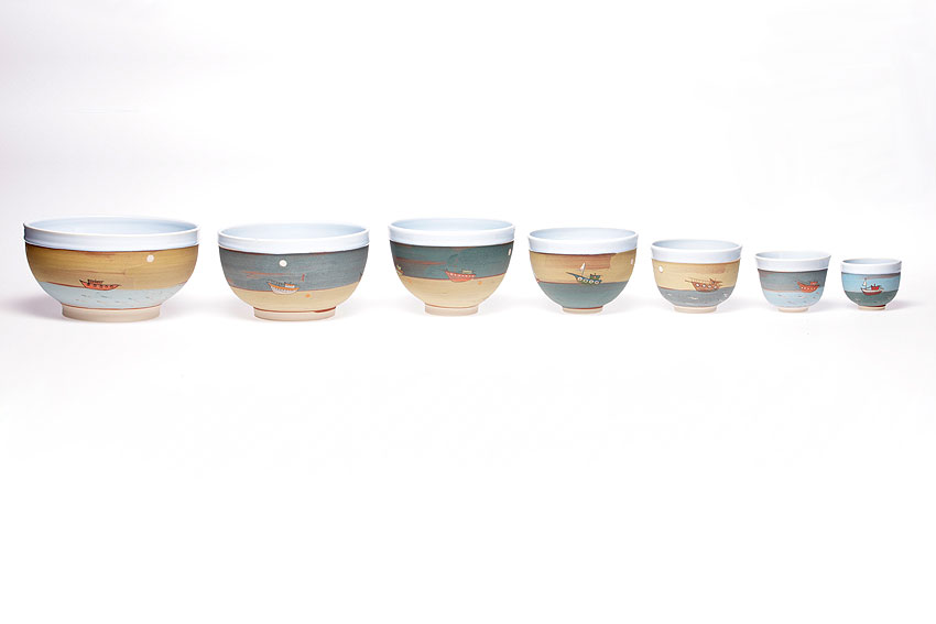 a row of bowls